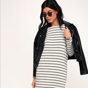 Striped Long Sleeve Shirt Dress